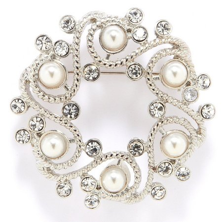 Napier Boxed Pearlescent Wreath Brooch