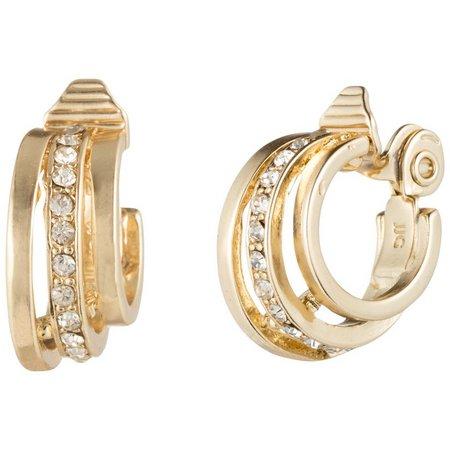 Napier Gold Tone Pave Triple Hoop Clip Earrings