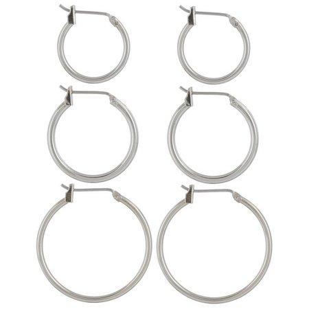 Napier 3-pc. Polished Silver Tone Hoop Earring Set