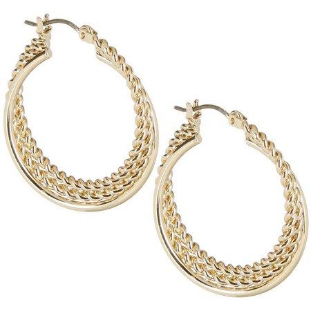 Napier Gold Tone Twisted Hoop Earrings