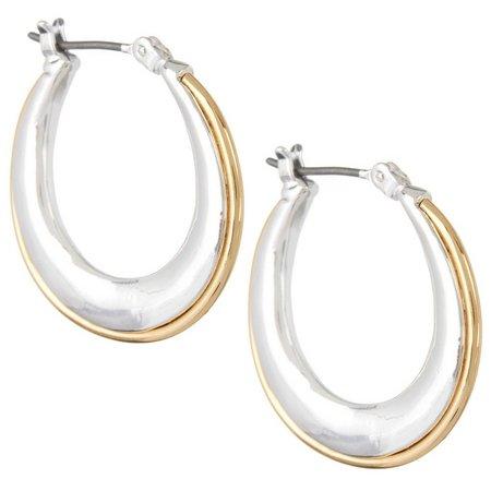 Napier 24mm Two Tone Hoop Earrings