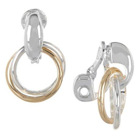 Napier Two Tone Double Ring Clip Drop Earrings