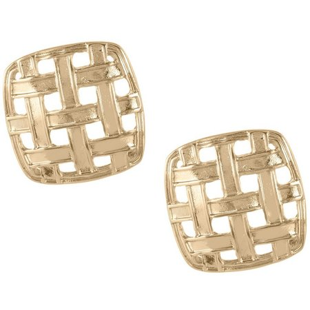 Napier Gold Tone Woven Square Button Earrings