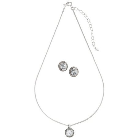 Napier Clear Stone Earring & Necklace Set