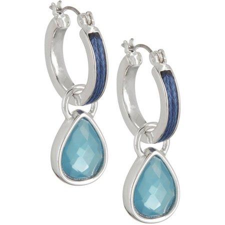 Napier Blue Teardrop Hoop Earrings