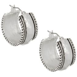Napier Silver Tone Wide Hoop Earrings