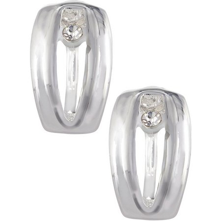 Napier Open Silver Tone Clip On Earrings