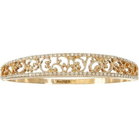 Napier Gold Tone Filigree Hinged Bangle Bracelet