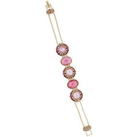 Napier Pink Flower Slider Chain Bracelet