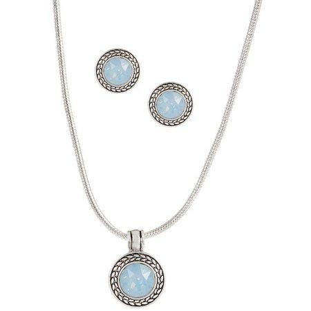 Napier Blue Opal Silver Tone Necklace & Earring