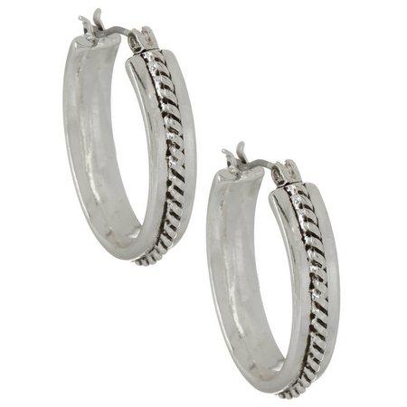 Napier Rope Design Silver Tone Hoop Earrings