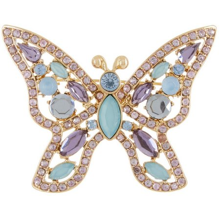 Napier Boxed Pastel Rhinestone Butterfly Pin