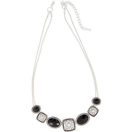 Napier Black & Silver Tone Slide Frontal Necklace