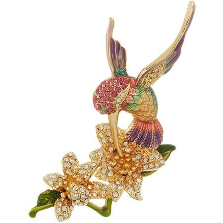 Napier Rhinestone Hummingbird Flower Pin