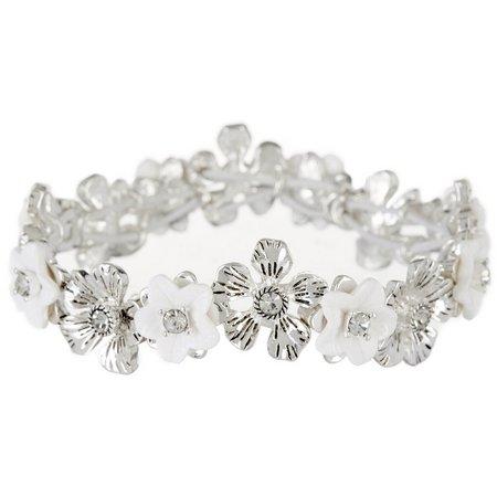 Napier White & Silver Tone Flower Stretch Bracelet