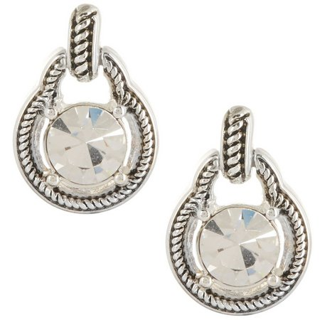 Napier Clear & Silver Tone Rope Setting Earrings