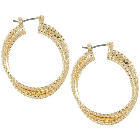 Napier 3 Row Textured Twisted Hoop Earrings