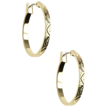 Napier Gold Tone Diamond Cut Hoop Earrings