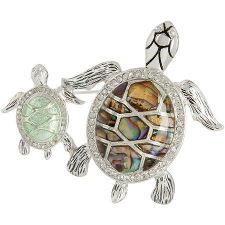 Napier Rhinestone & Abalone Turtle Mom & Baby