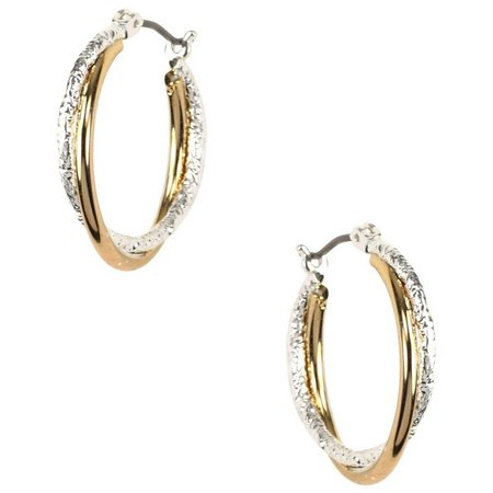 Napier Two Tone Twisted Texture Hoop Earrings