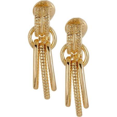 Napier Gold Tone Triple Loop Clip On Earrings