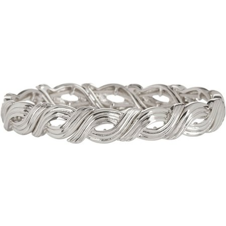Napier Silver Tone Waves Stretch Bracelet