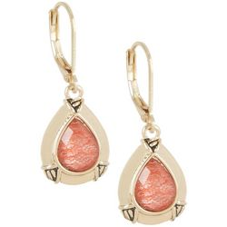 Napier Coral Gold Tone Teardrop Earrings