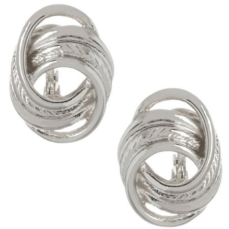 Napier Large Textured Ring Button Clip Earrings