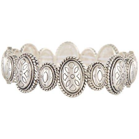 Napier Silver Tone Oval Textured Stretch Bracelet