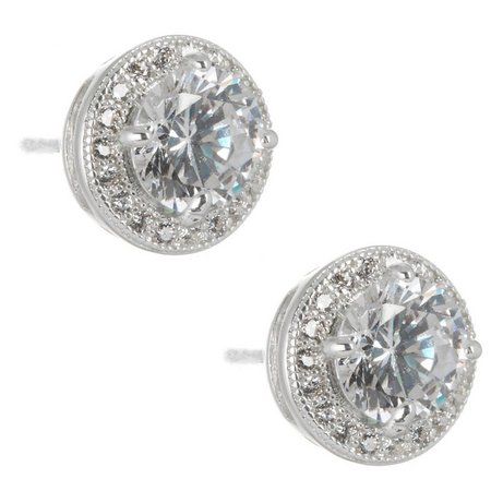 Napier 10mm Halo Round CZ Post Back Earrings