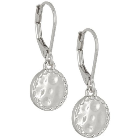 Napier Silver Tone Hammered Disc Drop Earrings