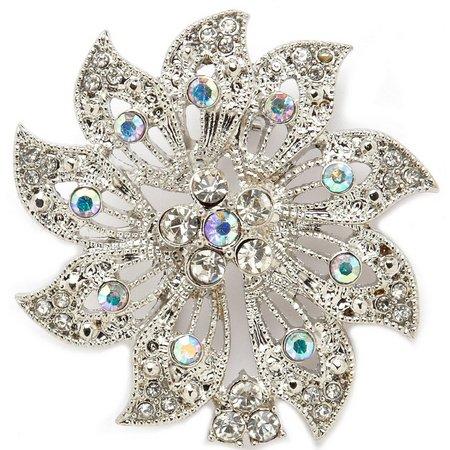 Napier Crystal Flower Pin Brooch