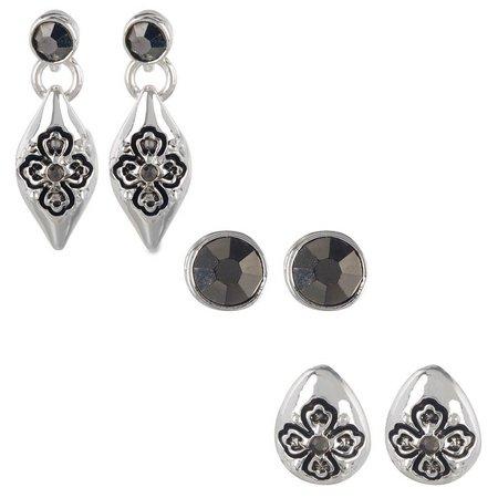 Napier 3-pc. Hematite & Silver Tone Stud Earring