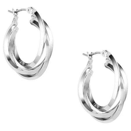 Anne Klein Three Row Silver Tone Hoop Earrings
