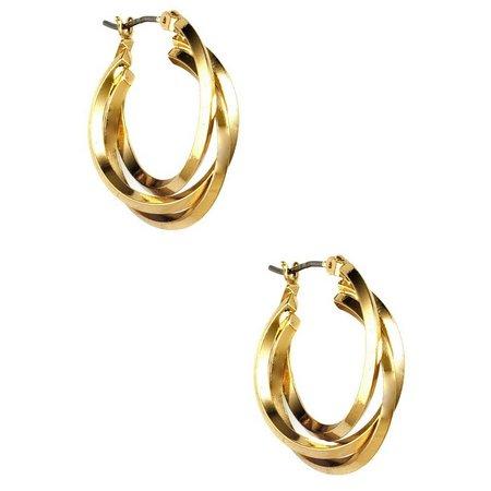 Anne Klein Three Row Gold Tone Hoop Earrings