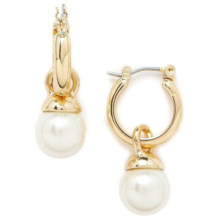 Anne Klein Gold Tone Simulated Pearl Drop Earrings