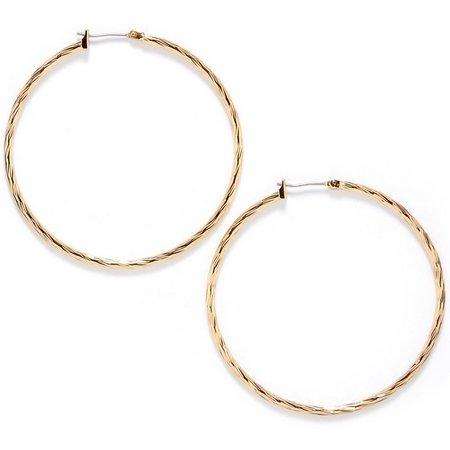 Anne Klein Gold Tone Diamond Cut Hoop Earrings