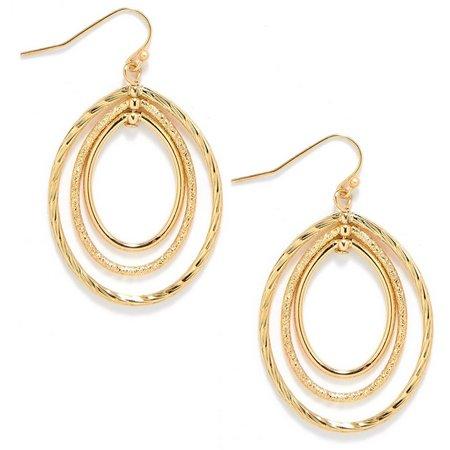Anne Klein Gold Tone Triple Hoop Dangle Earrings