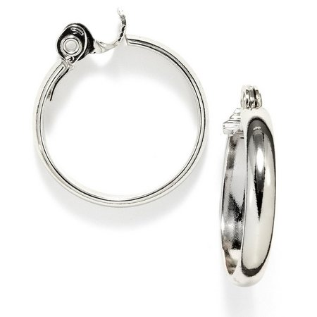 Anne Klein Silver Tone Medium Clip Hoop Earrings