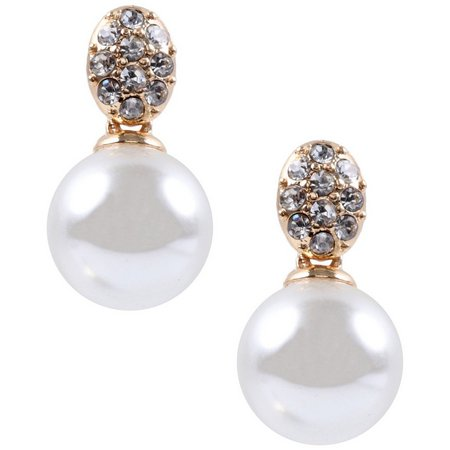 Anne Klein Pave Rhinestone Faux Pearl Earrings