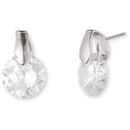 Anne Klein CZ Silver Tone Post Back Earrings