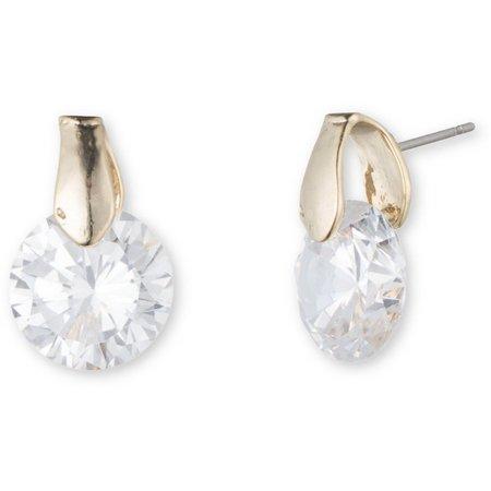 Anne Klein CZ Gold Tone Post Back Earrings