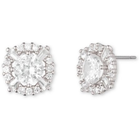 Anne Klein Clear CZ Elevated Stud Earrings
