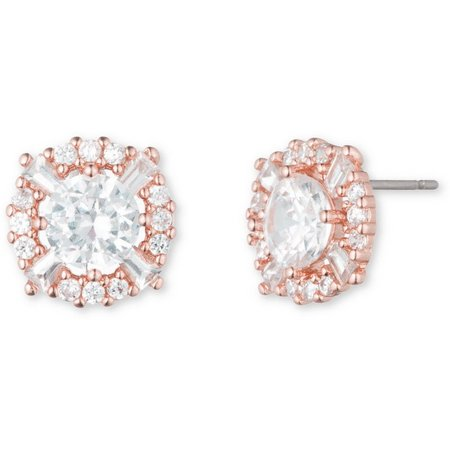 Anne Klein Clear CZ Halo Rose Stud Earrings