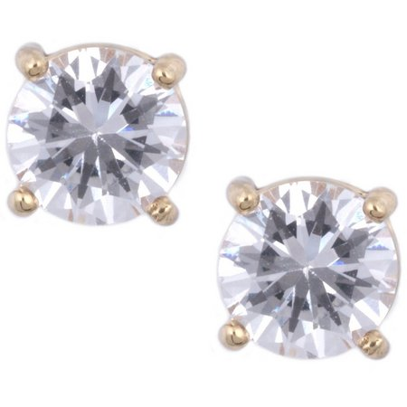 Anne Klein 8mm CZ Gold Tone Stud Earrings