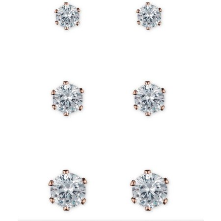 Anne Klein CZ Rose Gold Tone Stud Earring