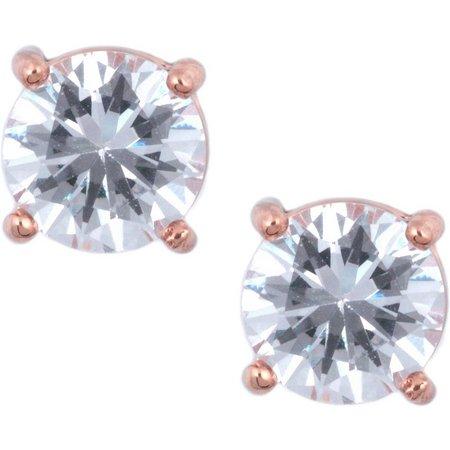 Anne Klein Clear Pink Gold Tone Stud Earrings