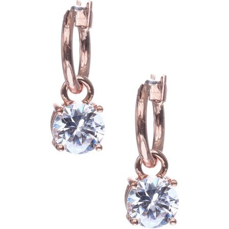 Anne Klein Rose Gold Tone Hoop Stone Earrings
