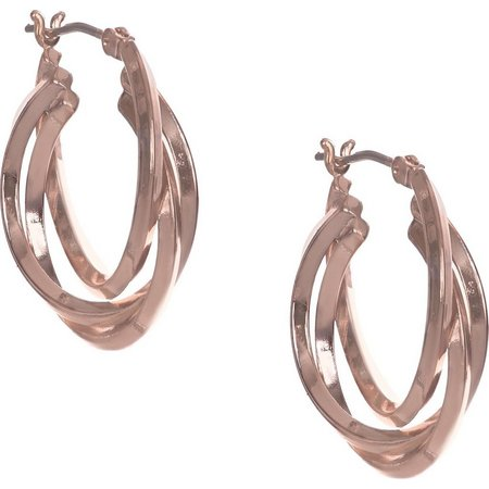 Anne Klein Pink Gold Tone 3 Ring Hoop