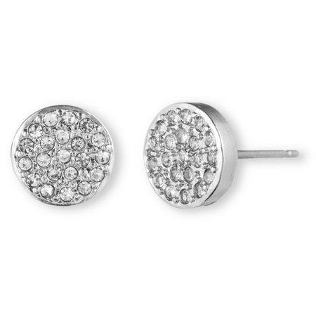 Anne Klein Pave Silver Tone Button Earrings